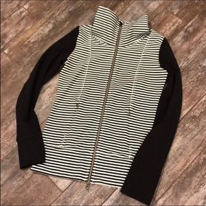 Lululemon mint green, black-striped zip jacket